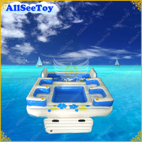 Strong PVC Tarpaulin Tropical 4 Person inflatable Floating Island Include Pool and Big Air Pump