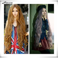 Harajuku Lolita Wig High Quality Taro Anime Cosplay Halloween Party Female Peruca Brown Long Wavy Curly Synthetic Wig Drag Queen