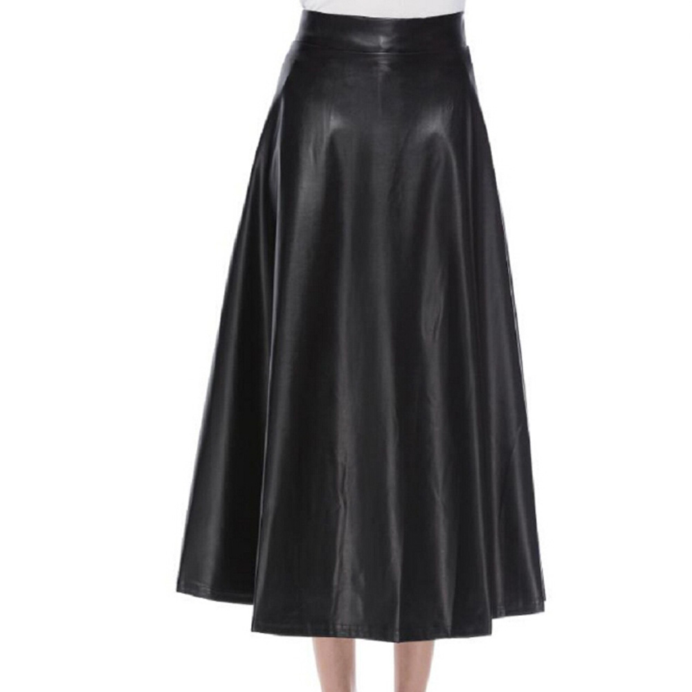 Autumn Winter High Waist Pleated Skirts Womens Elegant A-Line Black PU Leather Skirt Casual Punk Gothic Long Maxi Skirts Saia