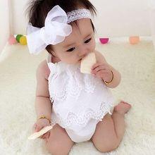 Fashion Summer Toddler Infant Baby Girl Flower Lace Sunsuit Jumpsuit Bodysuit Outfit Set Clothes
