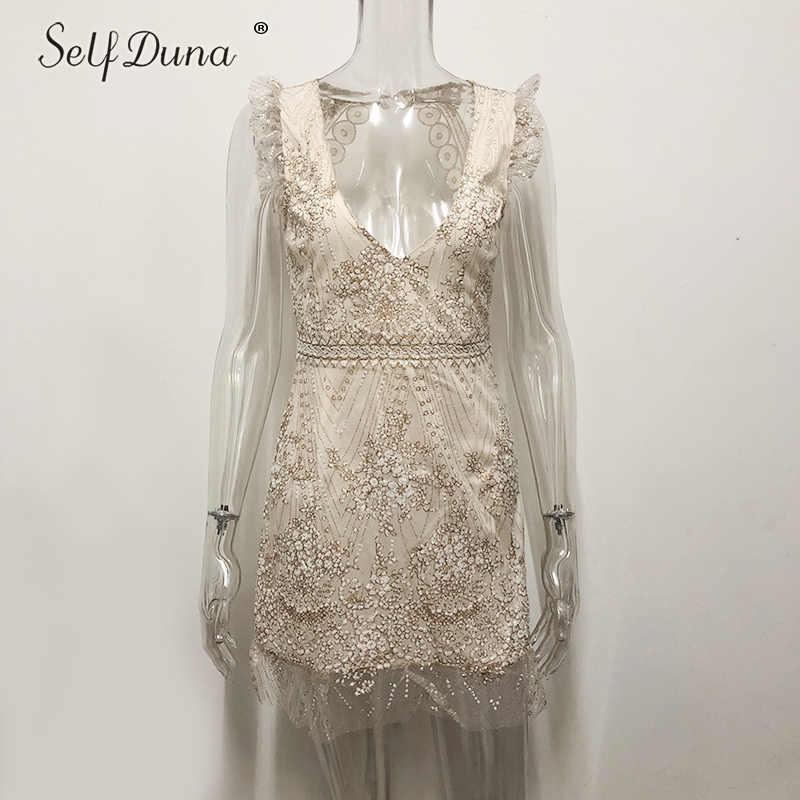 Tự Duna Sundress 2019 Mùa Hè Phụ Nữ Mini Dress Backless Sexy Bodycon Ngắn Ruffle Lưới Vàng Sequin Dress