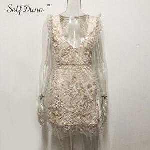 Image 3 - Vestido de verano 2019 para mujer de Self Duna, Mini vestido de fiesta bodycon sensual de Espalda descubierta, Vestido corto con volantes de malla de lentejuelas doradas