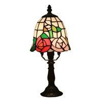 Işıklar ve Aydınlatma'ten LED Masa Lambaları'de Dia 15 cm Egzotik Tiffany Sanat Cam Çiçek Masa Lambası Fuaye Yatak Odası Bar Daire Cam Okuma Işık için H 33 cm 1059
