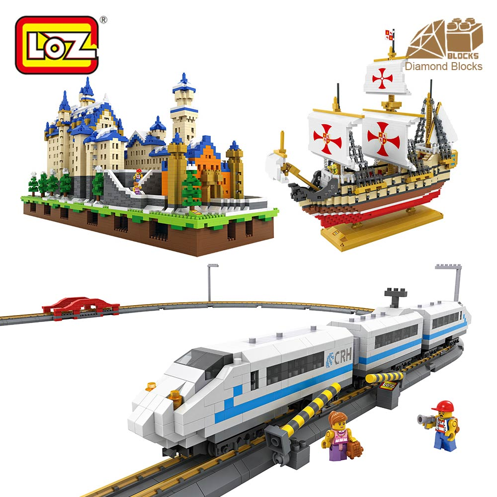 LOZ Architecture Plastic Building Blocks Toys Kids LOZ Brick Creator Model Building Blocks Ship Model Kit Train Hobby Castle Toy 8 in 1 military ship building blocks toys for boys