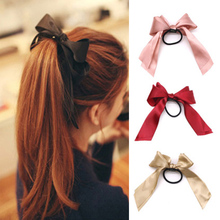 AHB Hair Accessories Korean Satin Bows Rubber Band for Women/Girls Solid Elastics Ties Scrunchies Women Headwear