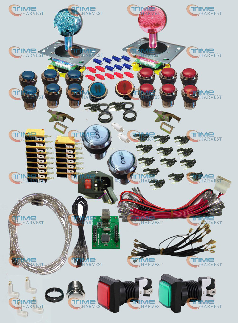 Arcade parts Bundles kit With LED Joystick chrome Illuminated buttons Microswitch 2 player USB to Jamma Build Up Arcade cabinet arcade parts bundles kits with joystick push button microswitch coin door jamma harness to build up arcade machine by yourself