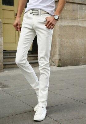 Мужские обтягивающие джинсовые брюки, небесно-голубые/белые однотонные зауженные джинсы, брюки стрейч, повседневный стиль, на весну-лето - Цвет: Белый