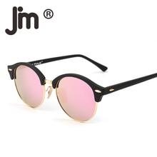 JM Retro Polarized Small Mirror Tinted Round Sunglasses Circle Lens Men Women Vintage Semi Rimless Sun Glasses Oculos