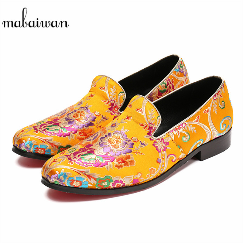 Mabaiwan Fashion Men Shoes Handcrafted Embroidery Flowers Designs Loafers Smoking Slipper Wedding Dress Shoes Men Party Flats mabaiwan fashion men shoes handcrafted embroidery flowers designs loafers smoking slipper wedding dress shoes men party flats