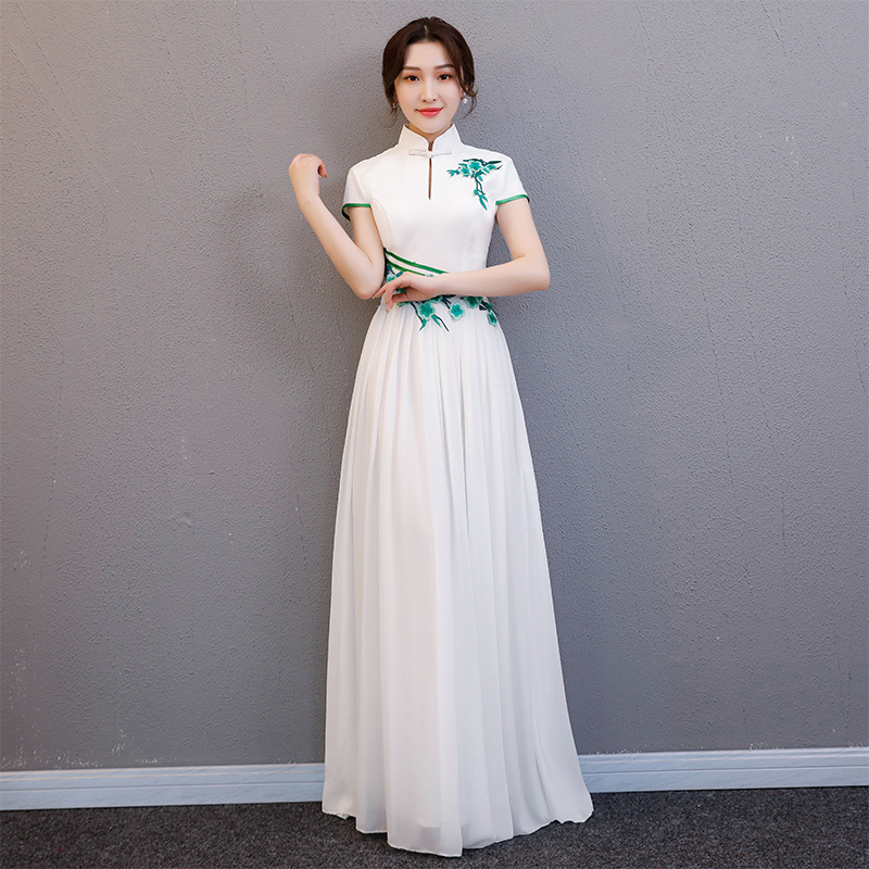 White Modern Chinese Wedding Gowns Traditional Qipao ...