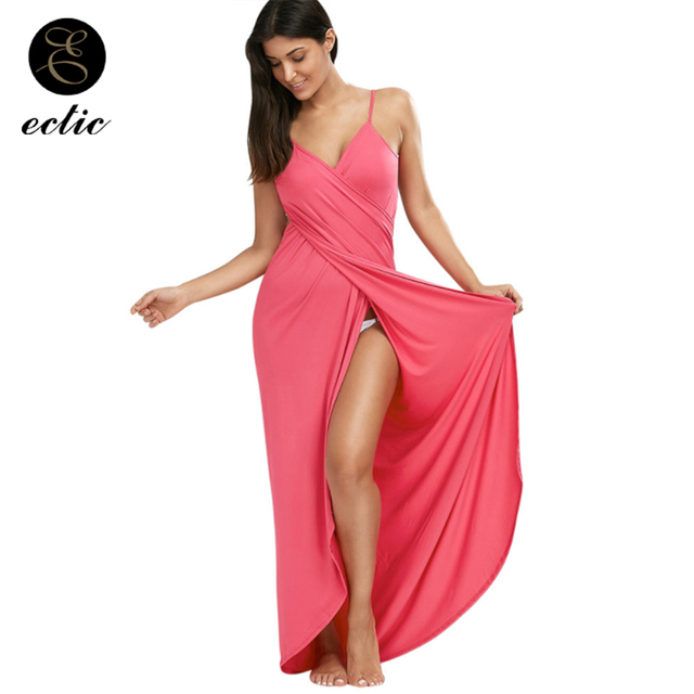 Way Wrap Convertible Boho Maxi Club Red Sukienka Tumblr Shirred Dress Frill  High Slit Dress Women Robe Ete 2018 Casual Sundress 235ec5504ea8