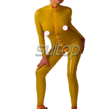 hand made latex Exotic rubber yellow jumpsuit catsuit for woman front zip 3 ways zippers
