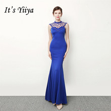 Its Yiiya evening gown Royal Crystal O-neck Sleeveless party dresses long Beading Floor-length Trumpet Formal Prom dress C239
