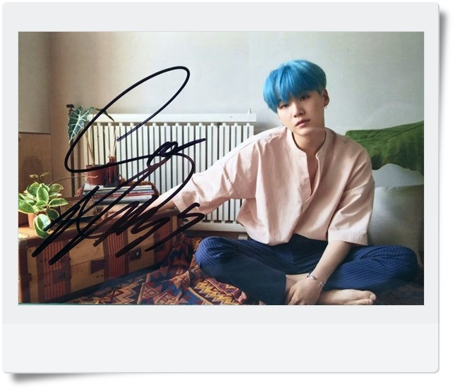 signed BTS SUGA autographed  photo LOVE YOURSELF  4*6 inches  freeshipping 092017C
