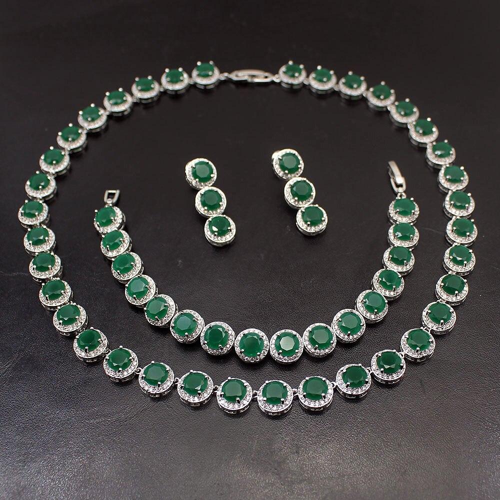 Ensemble ovale de luxe collier boucle d'oreille Bracelets 925 collier en argent Sterling