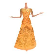 e1944f749f0de 1 pièces robe de mariée jaune robe pour s Belle robe de princesse fleur  imprimé poupée vêtements poupées accessoires