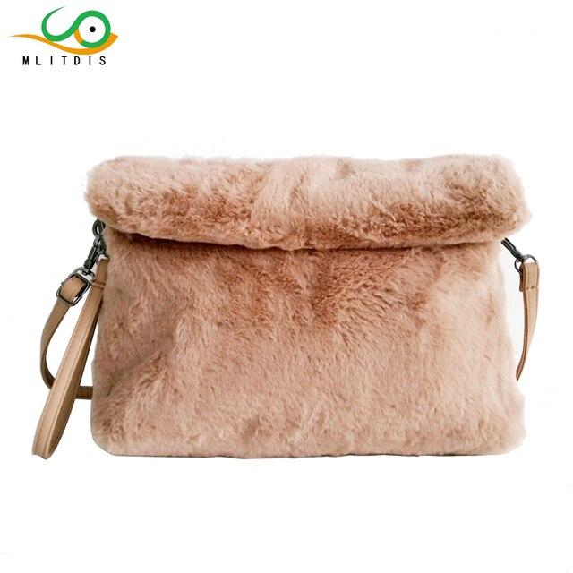 Mlitdis На зимнем меху клатч для Для женщин складной Сумки через плечо теплые Для женщин Клатчи модные Сумки на плечо сумка женская