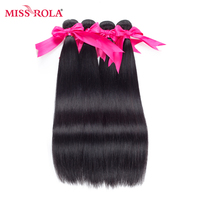 Miss Rola Hair Pre-colored Human Hair Bundles Malaysian Straight Hair Weave 4 Bundles Non Remy Hair Weave Free Shipping #1B