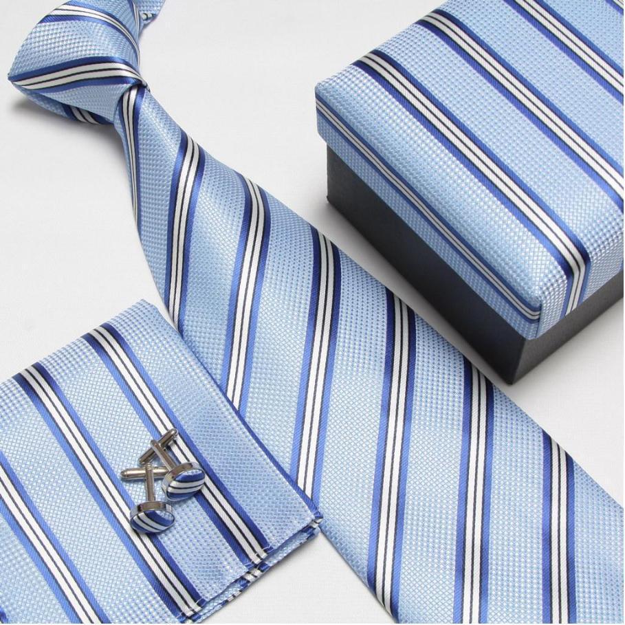 Мужская мода высокого качества полосатый набор галстуков галстуки Запонки hankies шелковые галстуки Запонки карманные носовые платки - Цвет: 18