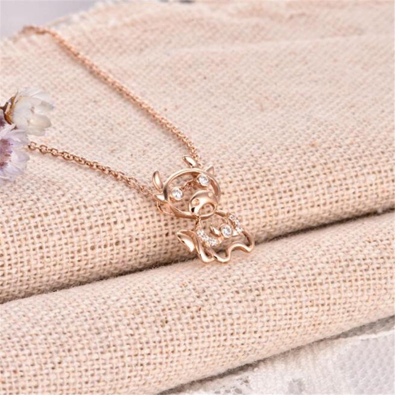 2018 18K Gold New Fashion Crystal Rose Gold Color Constellation Taurus Necklace Pendants For Women AU750 Jewelry Gifts 0 68g in Pendants from Jewelry Accessories