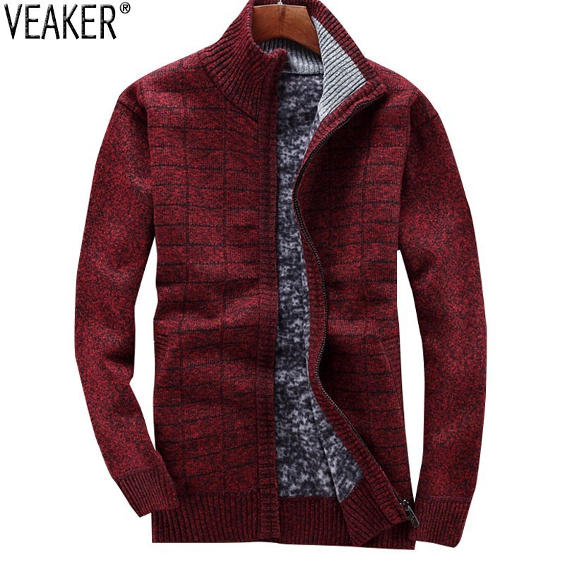 2019 Winter New Men's Thick Sweatercoat Zipper Stand Collar Sweater Jackets Male Casual Knitted Outerwear Sweaters M-3XL
