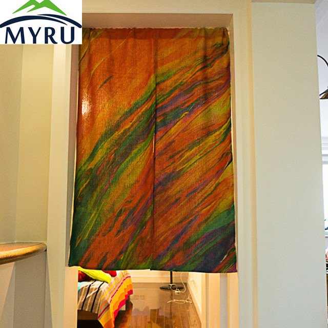 MYRU Alternative Curtain Creative Window Coloured Drawing Cloth Art Half Door The Kitchen Partition