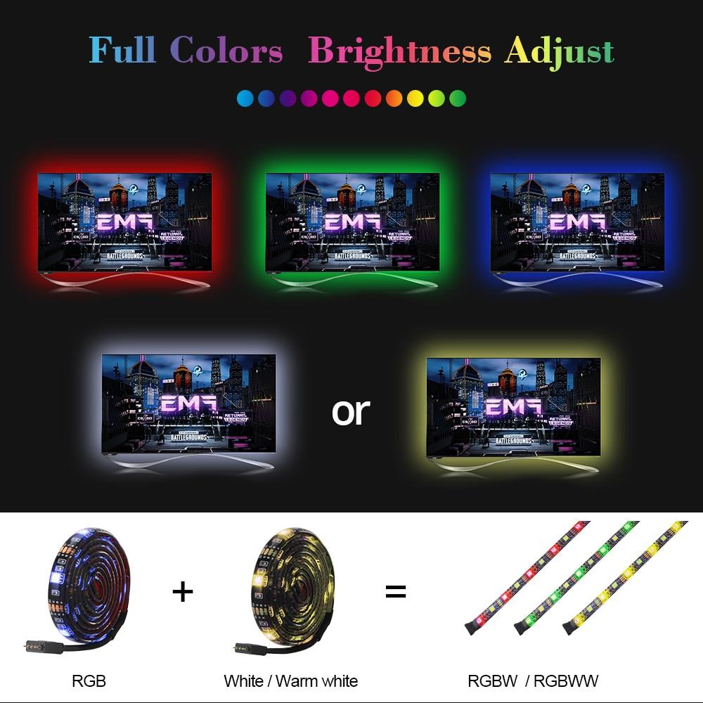 HTB1uqKiaOnrK1Rjy1Xcq6yeDVXaY USB LED Strip RGB+White with RF Remote Controller IP20/IP65 Flexible Strip Light 5050 RGBW RGBWW TV Background Lightgting