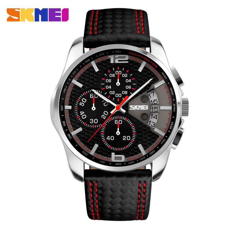SKMEI Outdoor Sports Quartz Watches Menn Topp Luksus Brand Chronograph Leather Vanntett Armbåndsur Relogio Masculino 9106