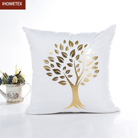 Bronzing Cushion Cover Gold Printed Pillow Cover Decorative Pillow Case Sofa Seat Car Pillowcase Soft Cotton Linen KDT1671