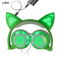 New Upgraded Cat Ear Headphones LED Ear Headphone Wired Cat Earphone Flashing Glowing Headset Gaming Headset