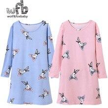 Retail 4-14 years long-sleeves cotton children's home wear nightdress girl baby pajamas autumn fall spring cartoon