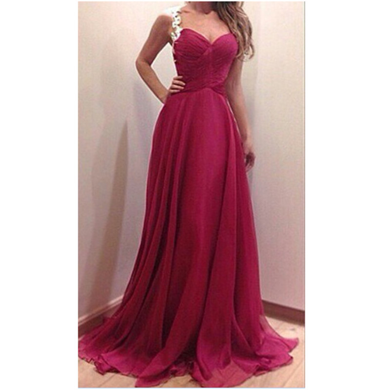 2015 Party Dress Women Fashion Red Maxi Dress Slim V neck ...