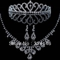 2016 Fashion Gorgeous Clear Crystal Peacock Wedding jewelry sets Silver rhinestone jewelry sets for Women