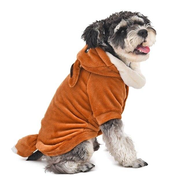 Vêtements dhiver en forme de renard | Vêtements à langer les animaux domestiques, en forme de renard, matière de flanelle douce et confortable, joli Design mignon, nouveauté, vêtements chien chat