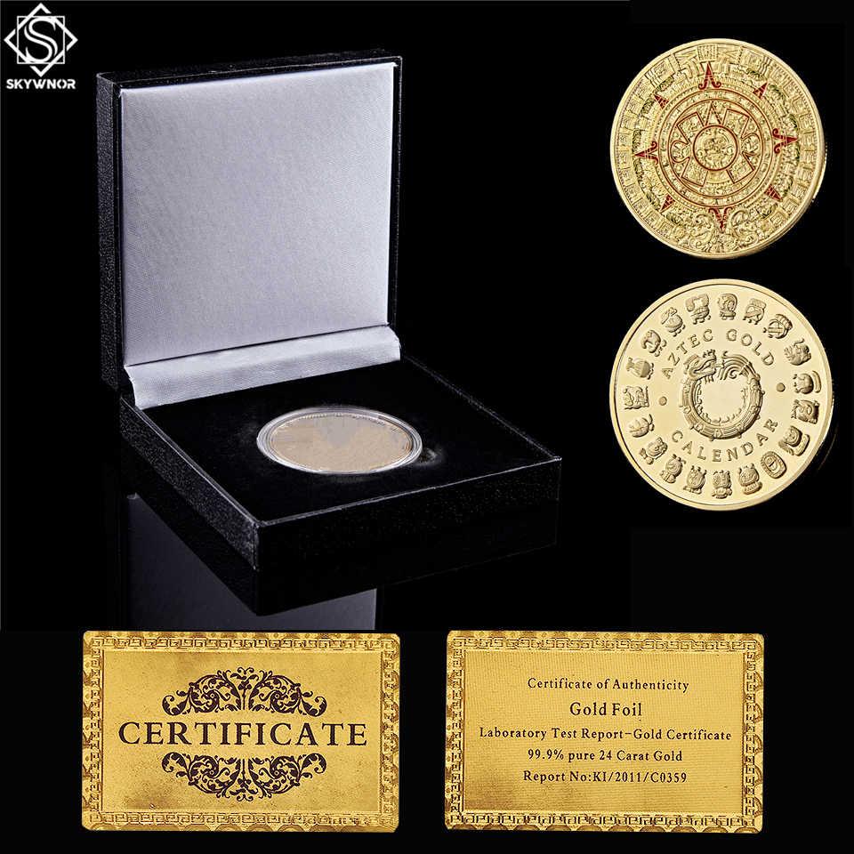 Mexican Maya Calendar Commemorative Coin Art Collection HARPIMER Mayan Aztec Prophecy Commemorative Coins
