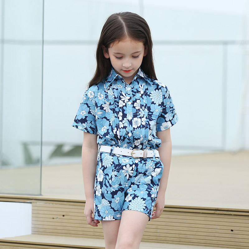 Famous Brand Girl Clothes Sets Fashion Girls Summer Flowers Set Clothes Girls Suits Kids Blouse + Shorts Children Clothing Set цена 2017