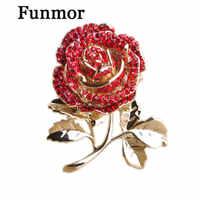 Kristall Blume Rose Broschen Für Frauen Klassische Mujer Rosa Broche Gold-farbe Blatt Schmuck Rot Liebe Bijoux Mutter der tag Geschenke