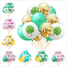 15pcs/set 12 Jungle Summer Party Confetti Latex Balloons Leaf Flamingo Pineapple Palm Luau Aloha Tropical  Hawaiian Decoration
