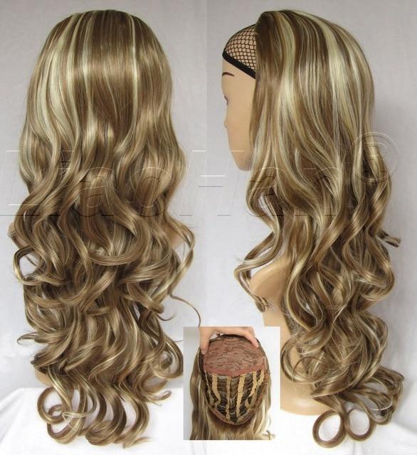 Women Fashion Wig 34 Half Wig Fall Long Curly Hair Fall Highlights