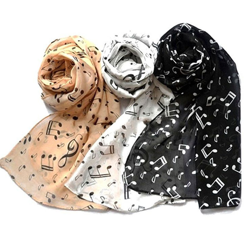 Special Price 2019 Women Fashion Musical Note Chiffon Neck Scarf Shawl Scarves Long Beauty Women's Scarf Black/White/Coffee