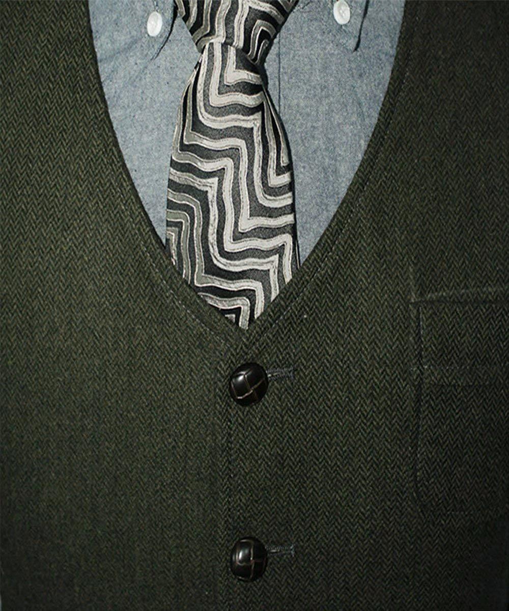 Men's Suit Formal V Neck Wool Herringbone Tweed Casual Waistcoat Formal Business Vest Groomman For Wedding Green/Black/Brown