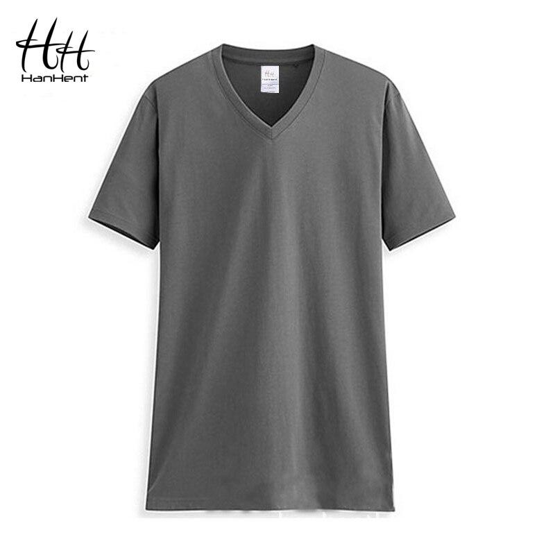 HanHent Men T Shirt V Neck Cotton Plain Shirt Man's Basic Undershirt 2019 Fashion Blank Shirt Summer Brand T-shirt For Men