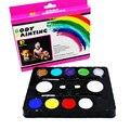 10 Colores de Pintura de la Cara de Navidad Kits Partes Maquillaje No Tóxico pintura 10 Colores Vibrantes con Cepillos Para Los Niños Enfrentan Maquillaje arriba