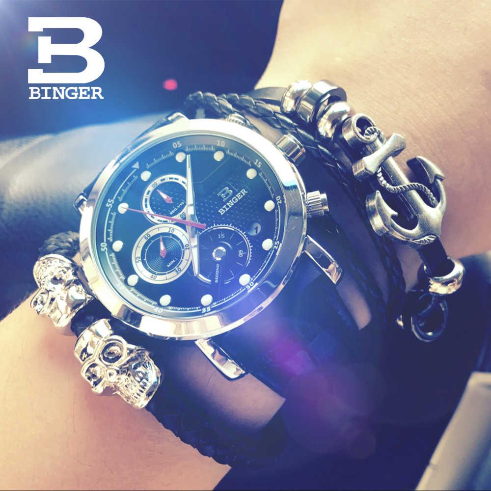 Montres multifonctions hommes de luxe haut marque horloge BINGER Sport hommes chronographe montre à Quartz homme montre-bracelet relogio masculino