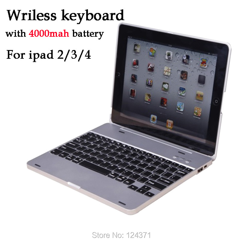 Free Shipping V3.0 Multimedia Wireless Bluetooth Keyboard For Ipad2/ Ipad3/Ipad4 with 4000mAh Power Bank Case For iPad 2 3 4,