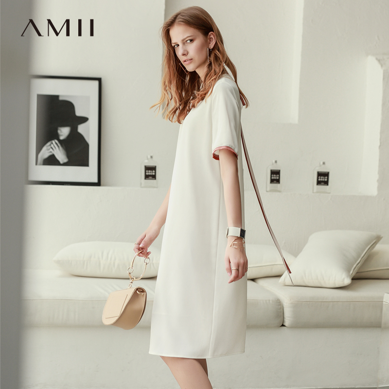 Amii Women Minimalist 2018 Summer Dress Office Lady Straight Double Layer Chiffon Contrast Color Female Dresses