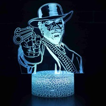7 Colors Change Armed Escort Pistol Shooter LED 3D Visual Illusion Night Light Creative Table Decoration Novelty Lamp Gift