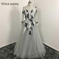 Hot Sale Light Gray Tulle Prom Dress 2016 Long Sleeves Flower Evening Gowns Sexy Middle East