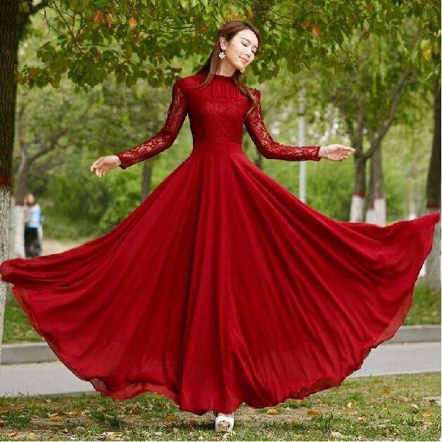 2016 Vestidos women runway fashion dress elegant bohemian beach summer dress chiffon vintage lace top dress  long maxi dress