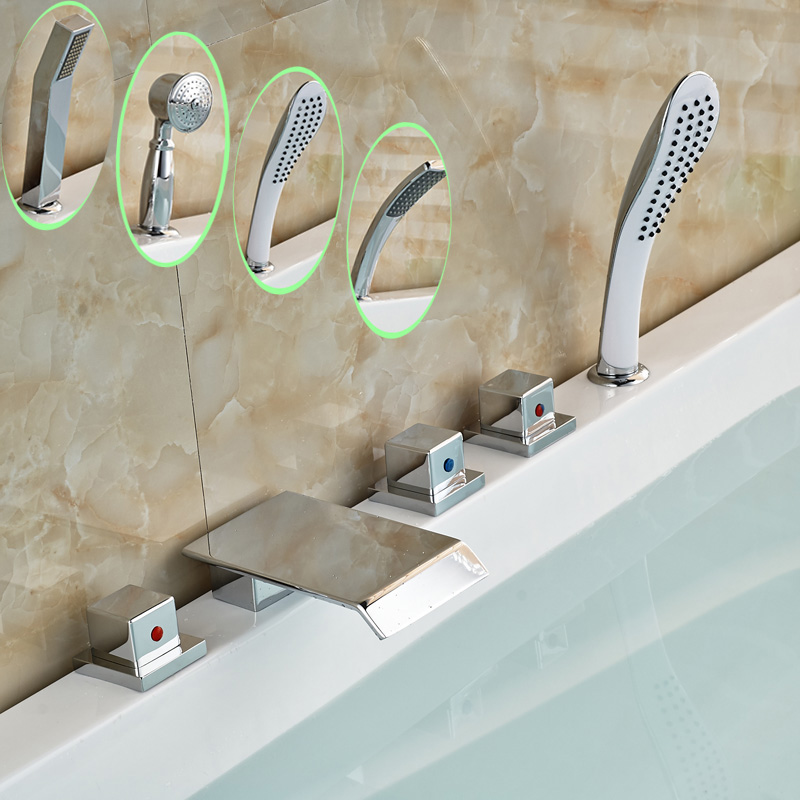 Three Square Knobs Widespread Waterfall Tub Mixer Faucet Bathroom Deck Mount Bathtub Filler + Handshower цена